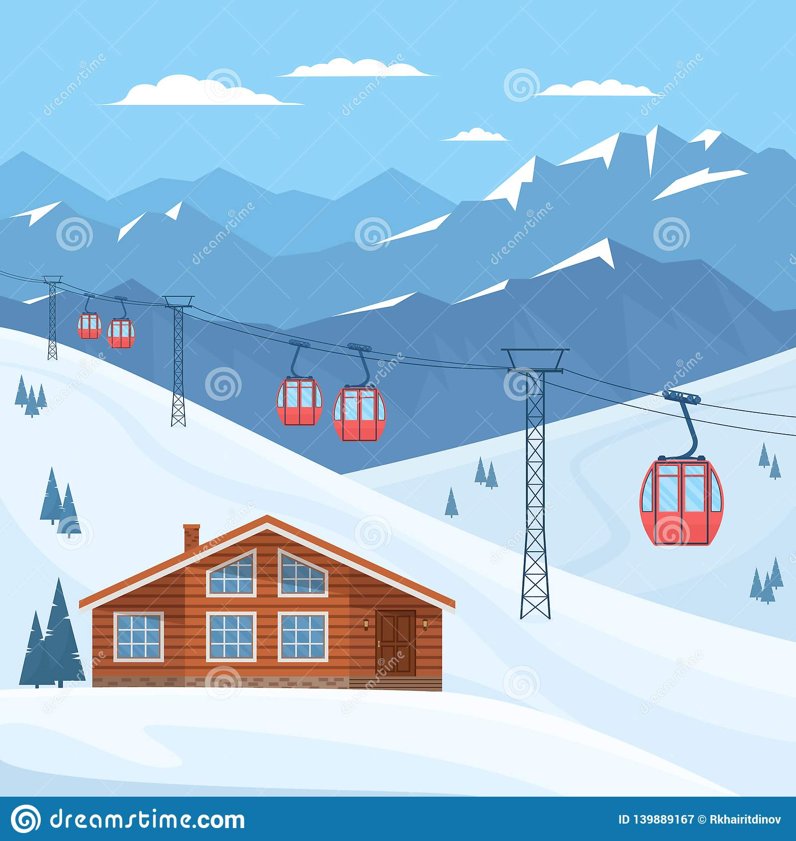 Ski resort with red ski cabin lift on cableway, house, chalet, winter mountain landscape, snowy peaks and slopes.