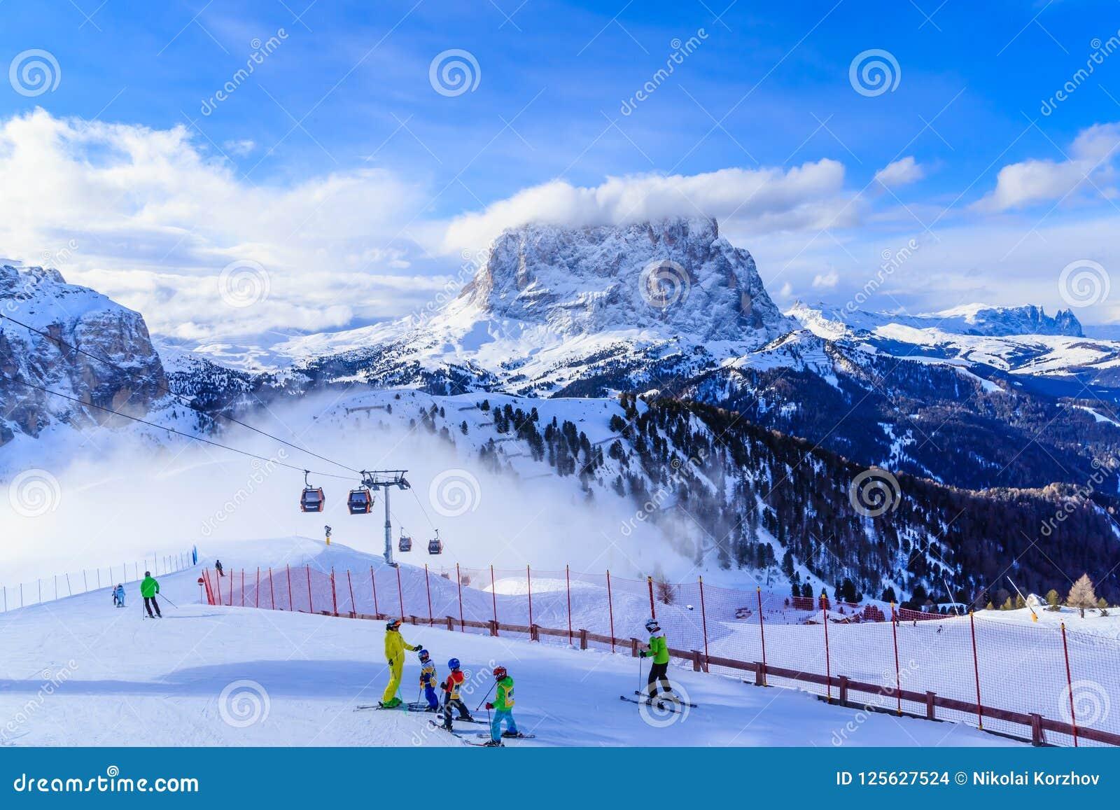 ski resort of selva di val gardena editorial stock image - image of