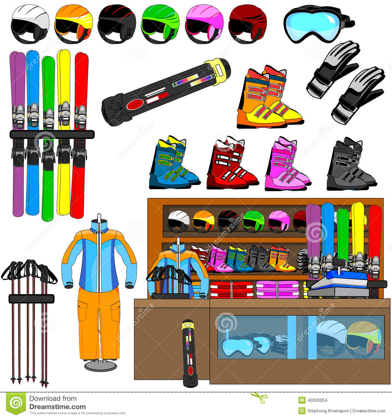Ski Shop And Equipment Tools Vector Stock Vector - Image: 40933054