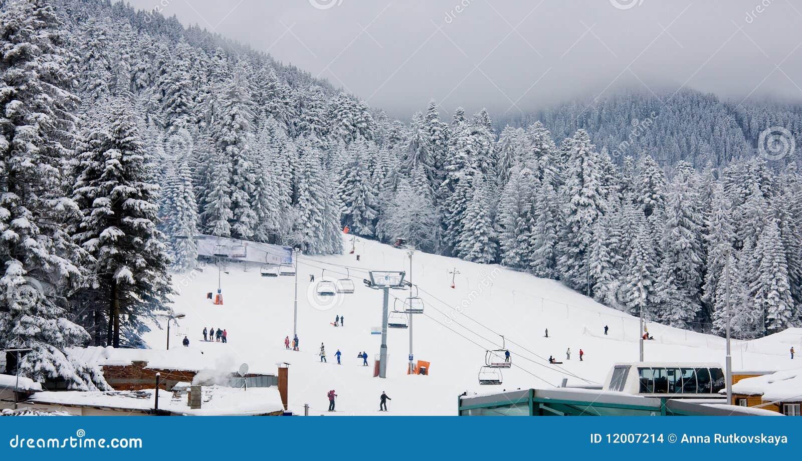 Ski slope and chair ski lift in Borovets, Bulgaria