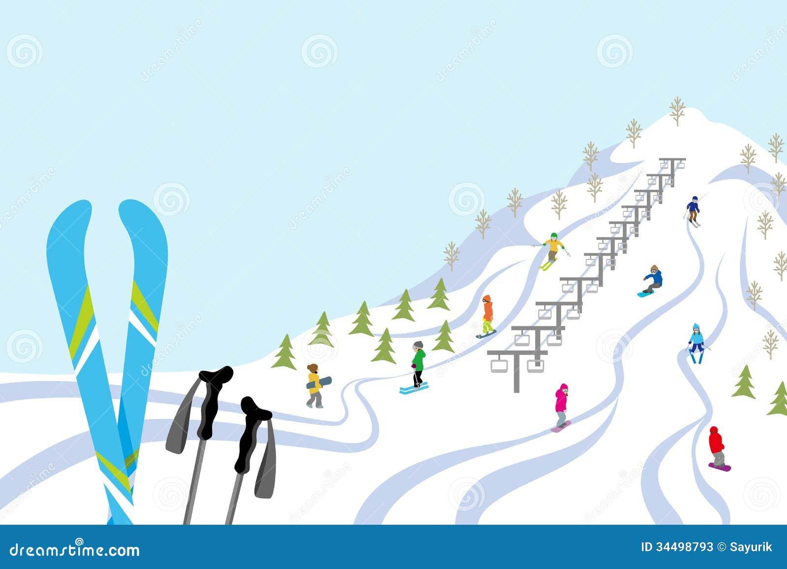 Ski Slope, Horizontal Stock Photos - Image: 34498793
