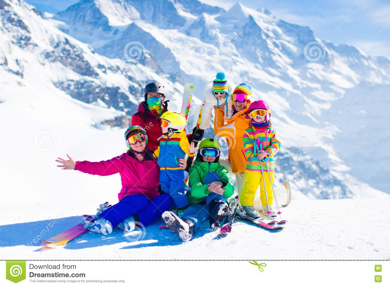 90045ee6c9b0 Ski And Snow Fun. Family In Winter Mountains. Stock Photo - Image of ...