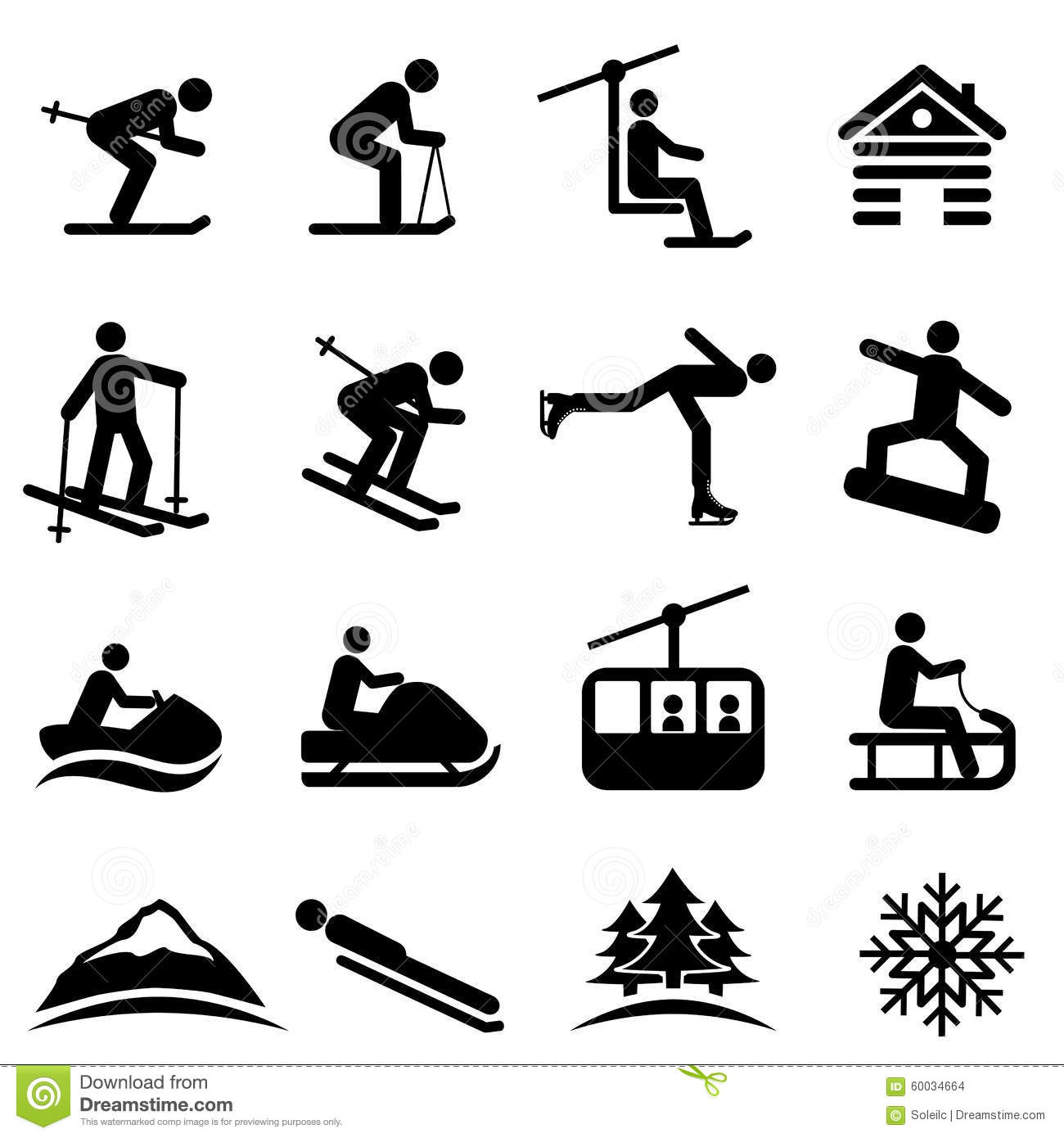 Ski, snow and winter icons stock vector. Illustration of mountain - 60034664
