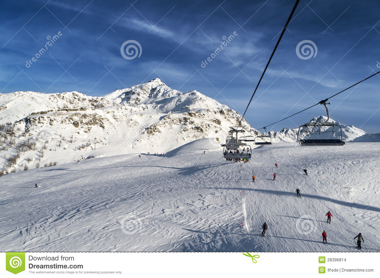 Ski track with chair lift stock images image 28396814