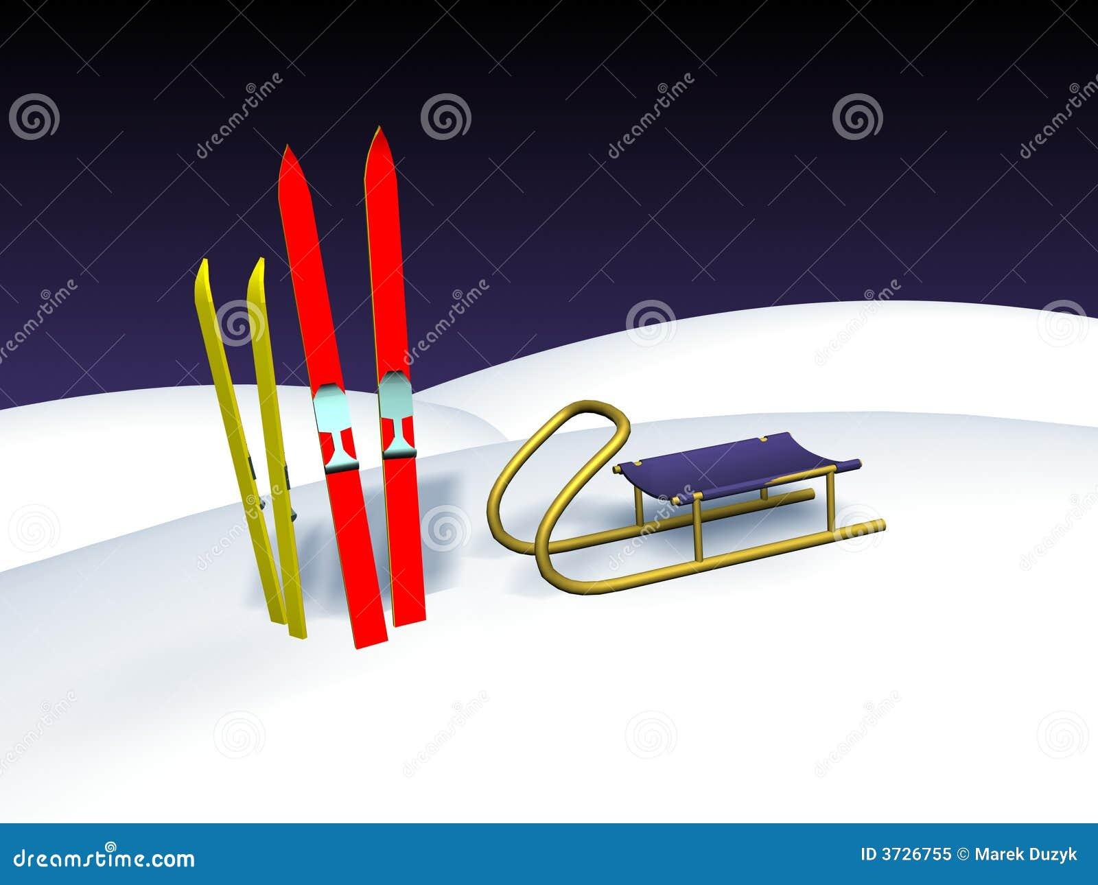 Ski und Schlitten