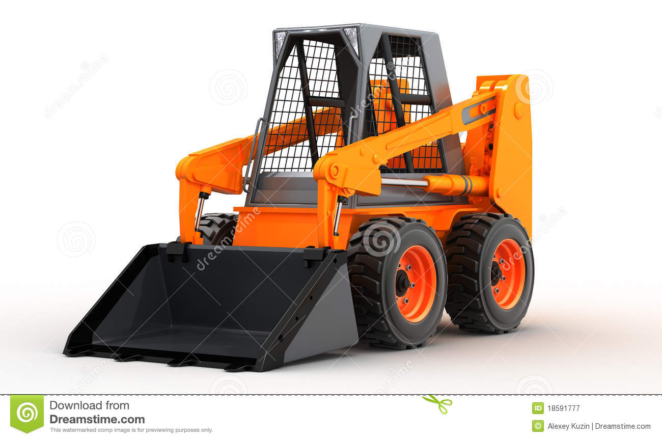 Skid steer loader isolated on white background 3d