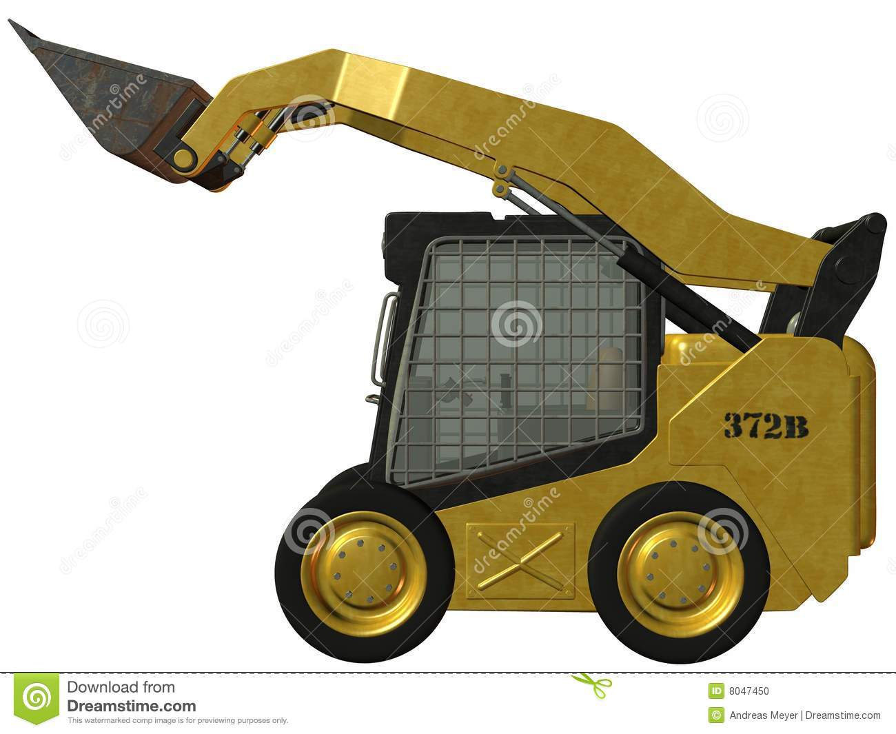 3d render of an skid steer loader
