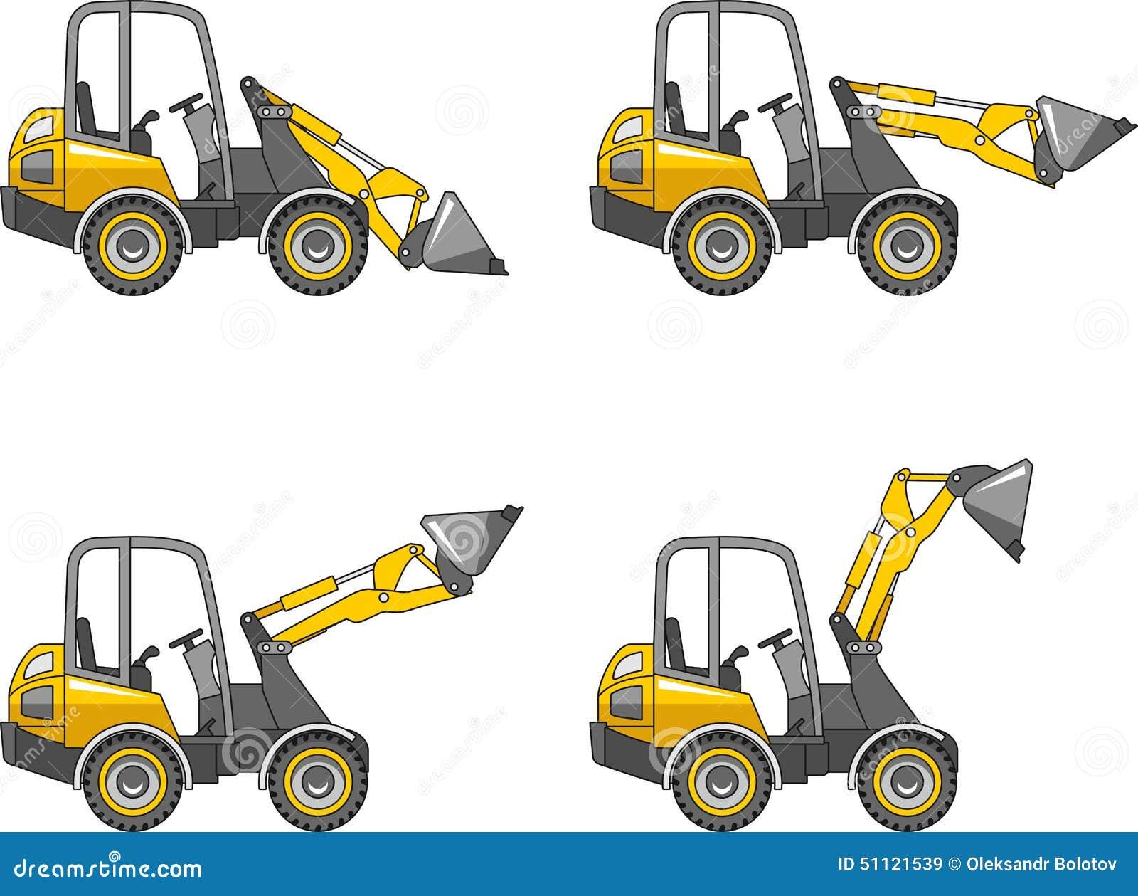 Skid Steer Tools : Skid steer loaders heavy construction machines vector