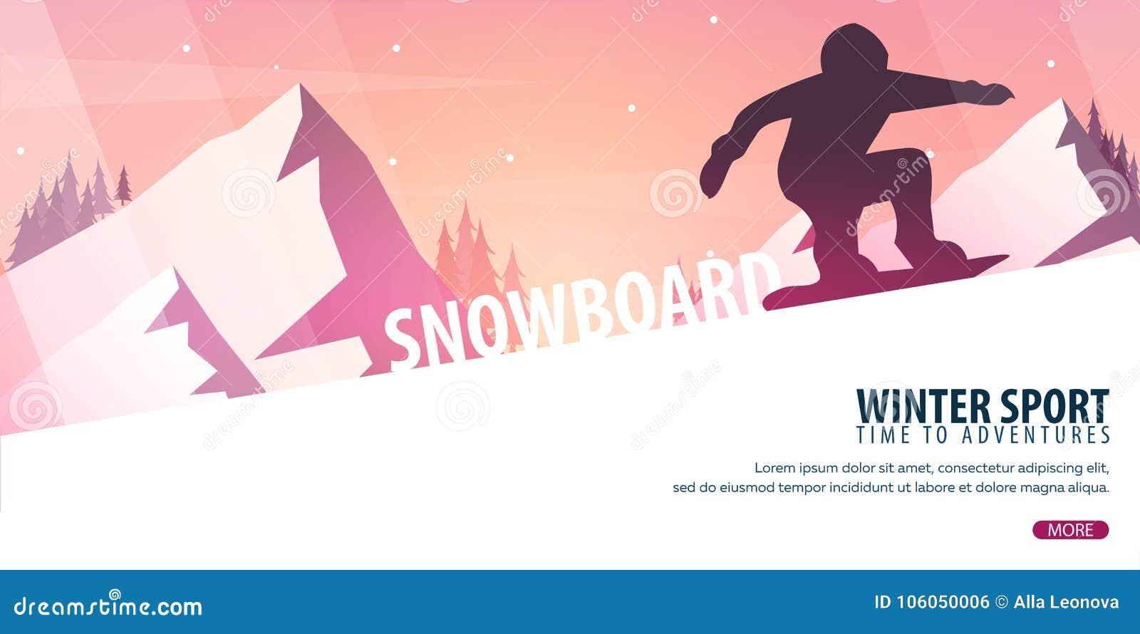 Skida vintern för snowsportspår skida snowboarden stora liggandebergberg Snowboarder i rörelse också vektor för coreldrawillustra