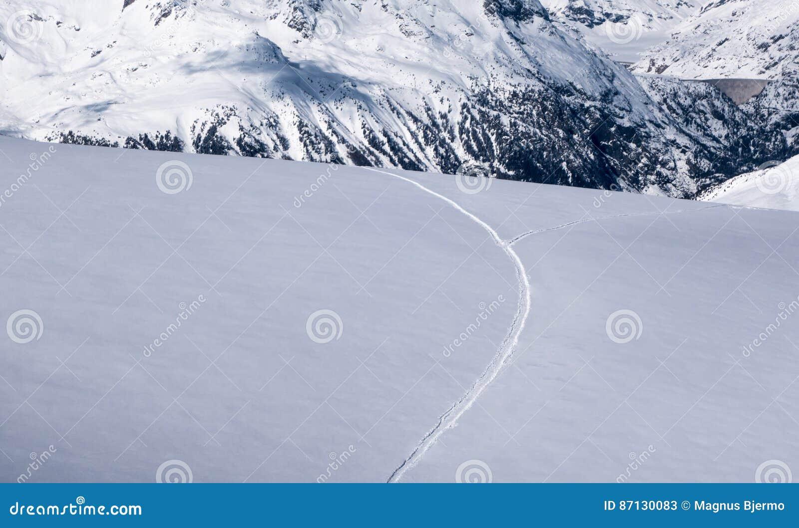 Skidar spåret på det untracked alpina snöfältet som itu delar