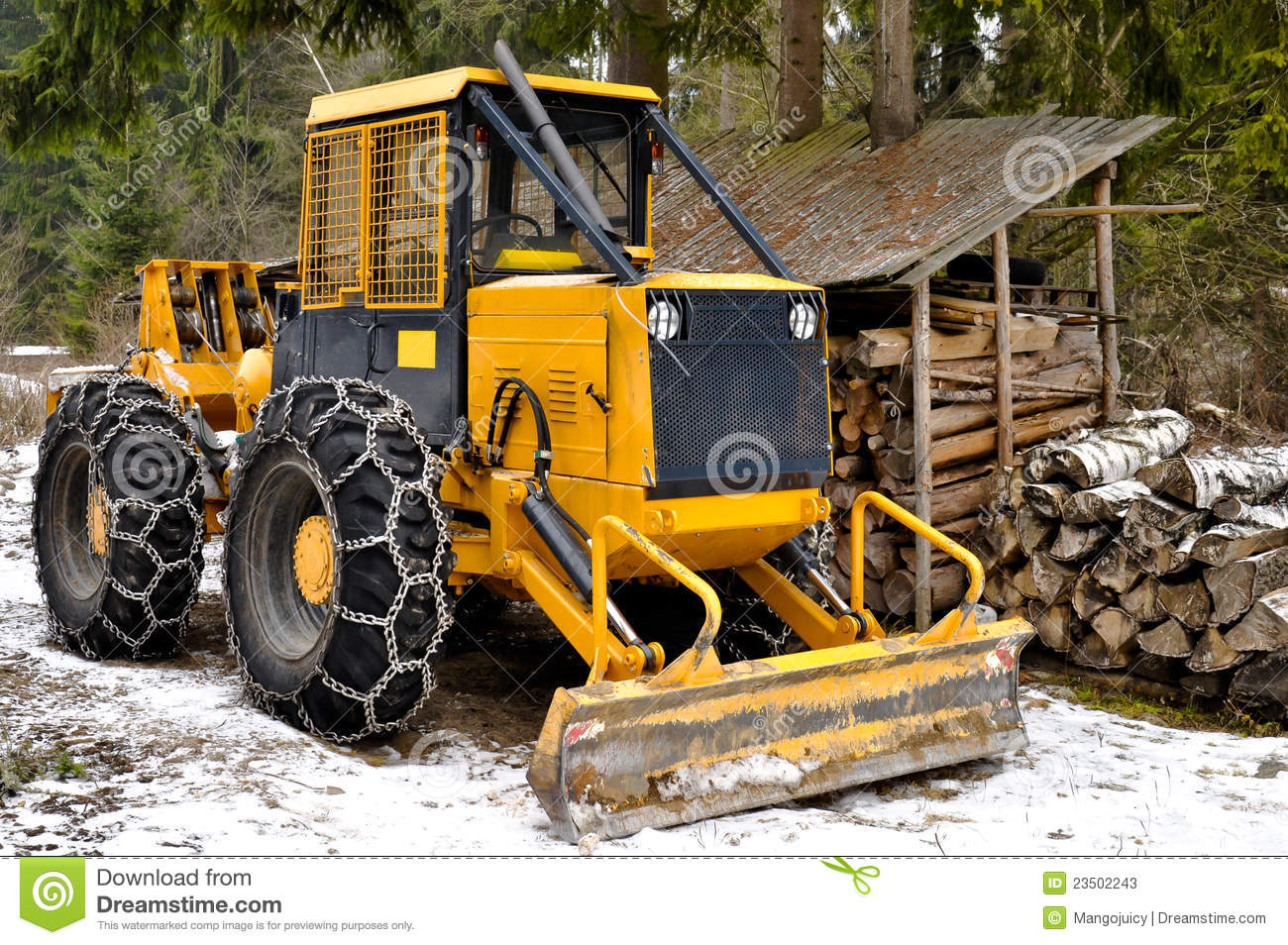 Skidder Wheels Equipped With Snow Chains Stock Image