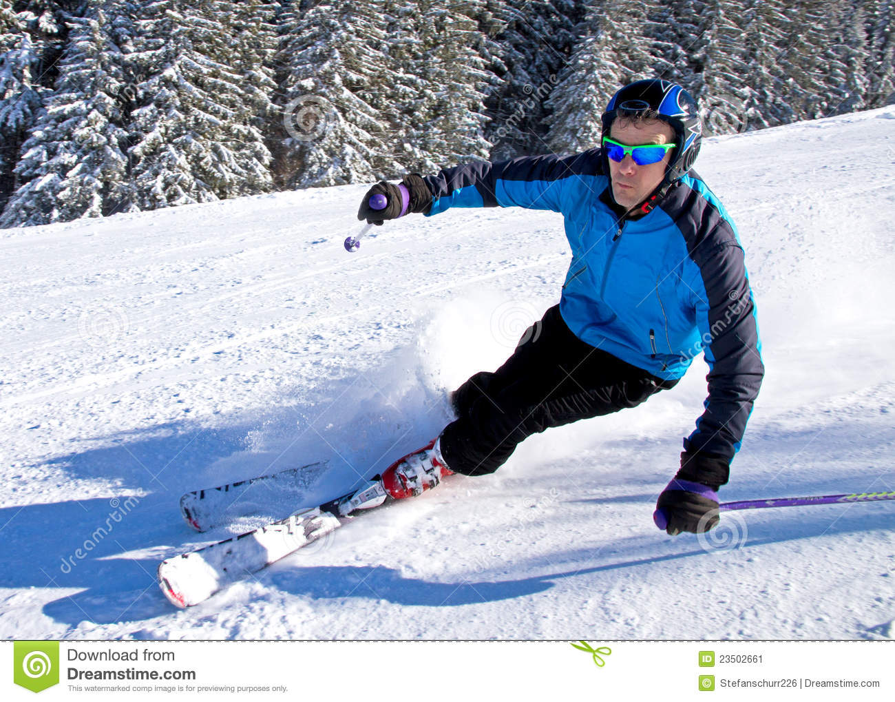 A skier is carving stock image
