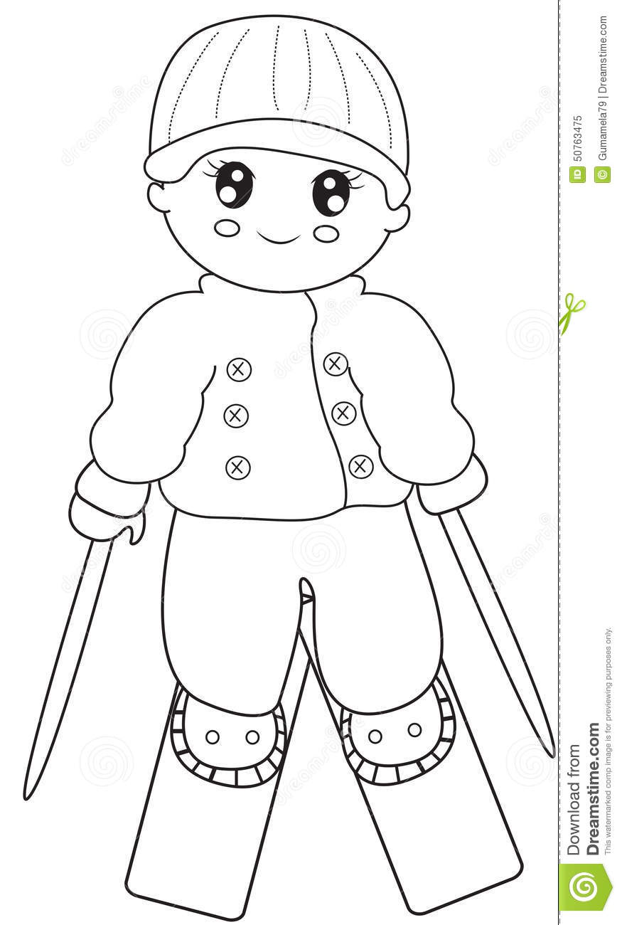 skier coloring page stock illustration image 50763475