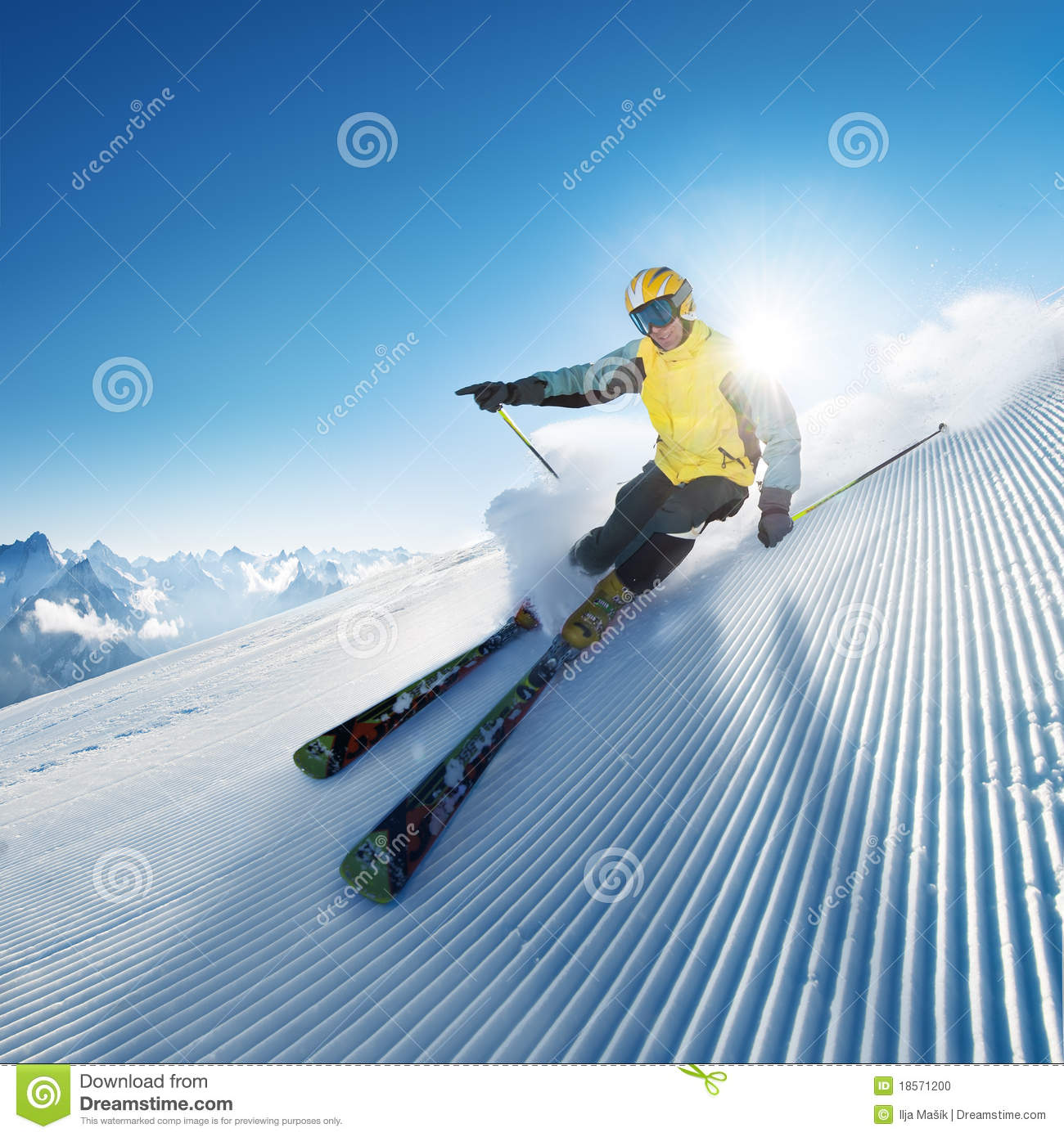Skier in high mountain