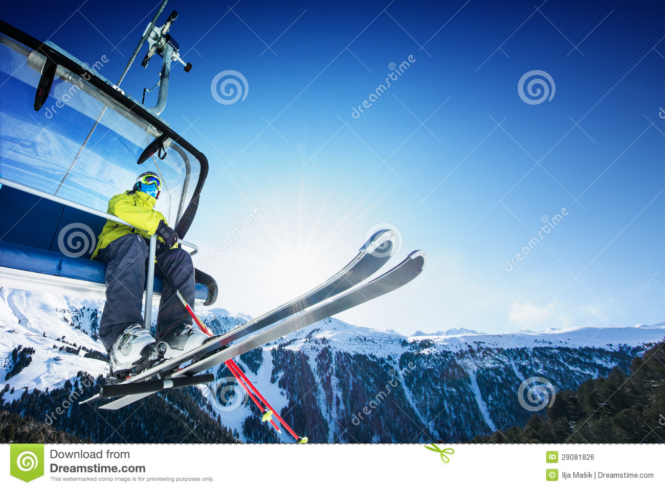 Download Skier Siting On Ski-lift - Lift At Sunny Day And Mountain Stock Photo - Image of sitting, lpen: 29081826