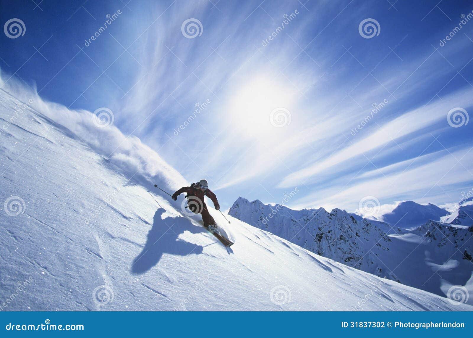 Skier Skiing On Mountain Slope Stock Photo - Image Of Energy, Adult 31837302-4386