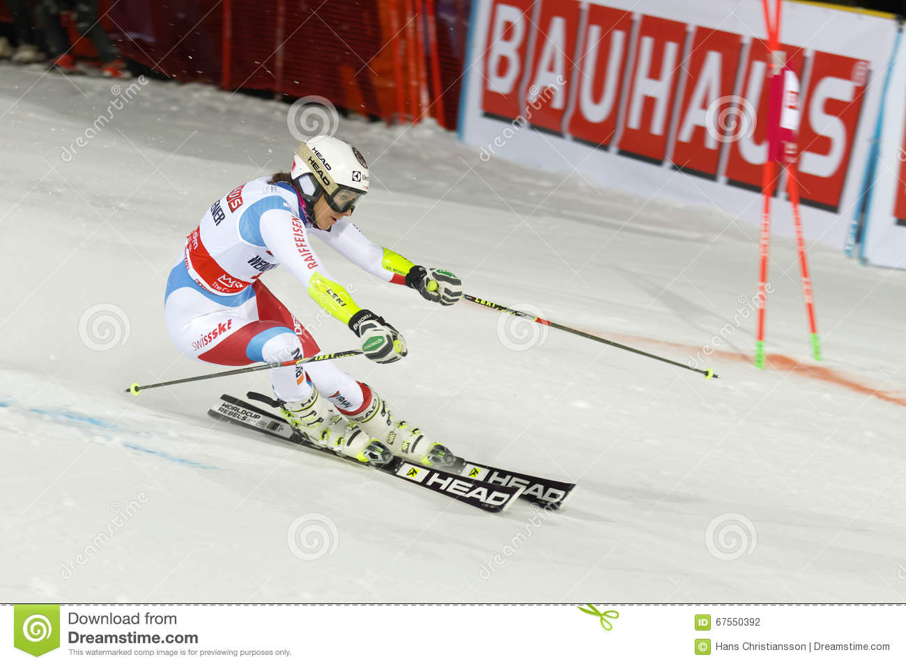 Skier Wendy Holdener Skiing At A Slalom Event Editorial