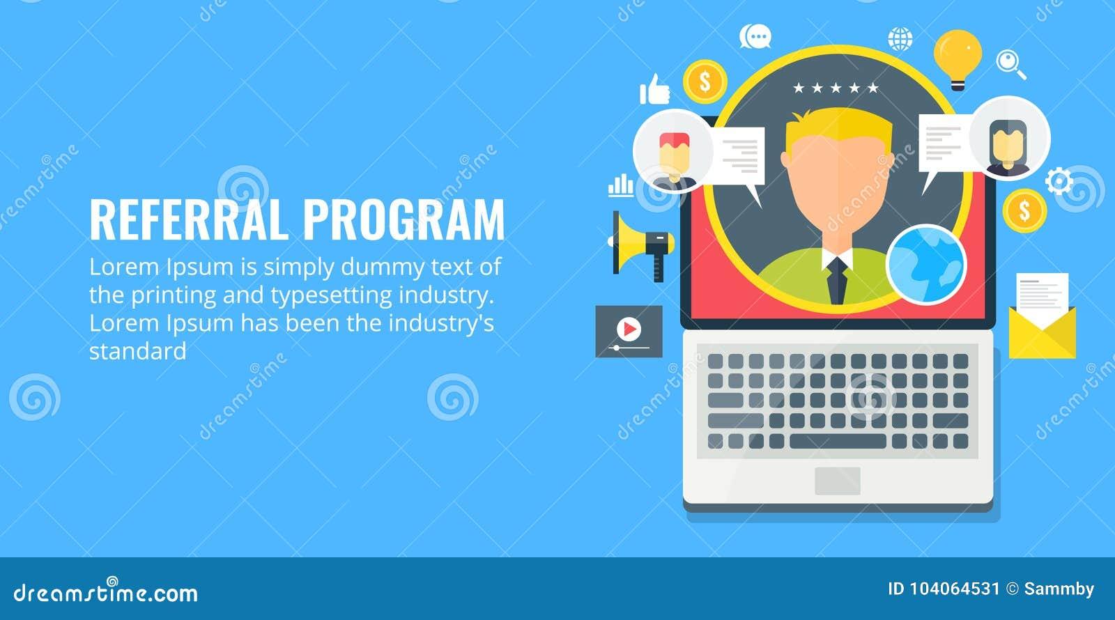 Skierowanie program przyłącza się partnerstwo - sieć marketing - Płaskiego projekta marketingowy sztandar