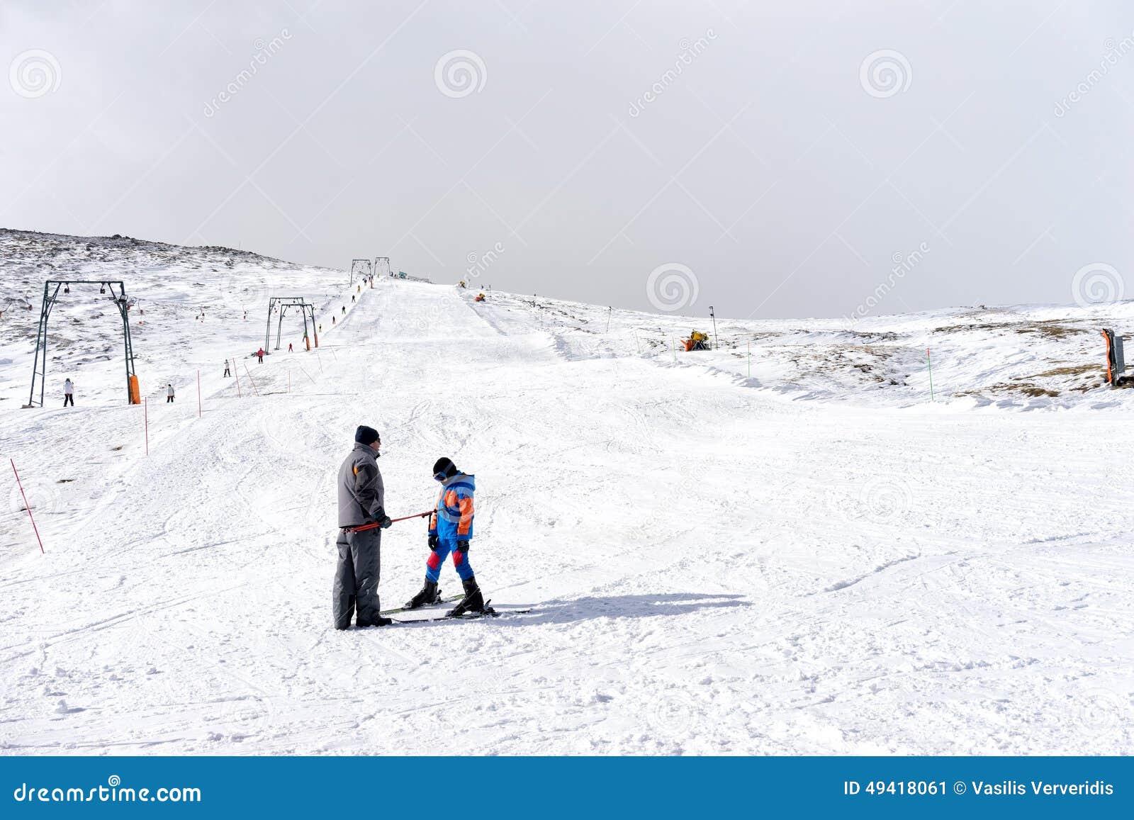 skiers enjoy the snow at kaimaktsalan ski center, in greece. rec