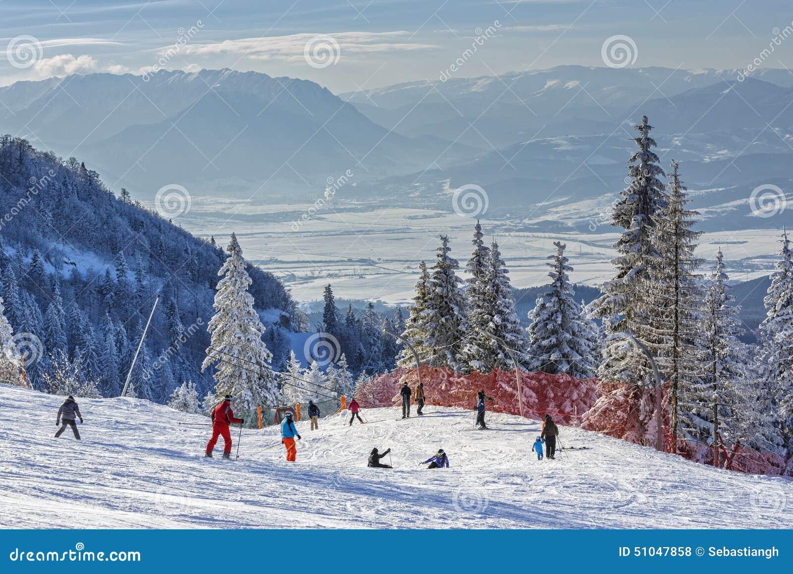 skiers on slope editorial stock photo. image of romania - 51047858