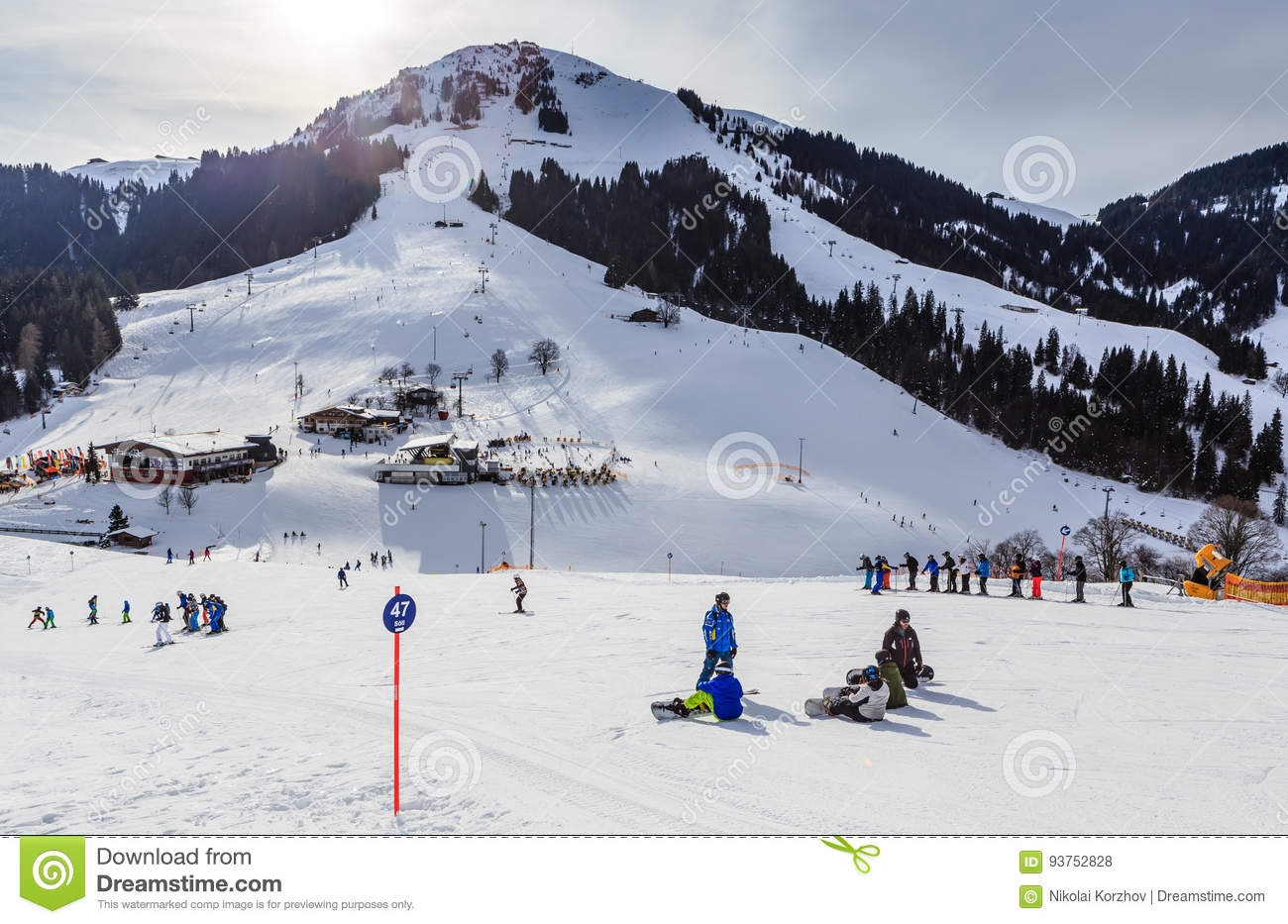 skiers on the slopes of the ski resort of soll, tyrol editorial