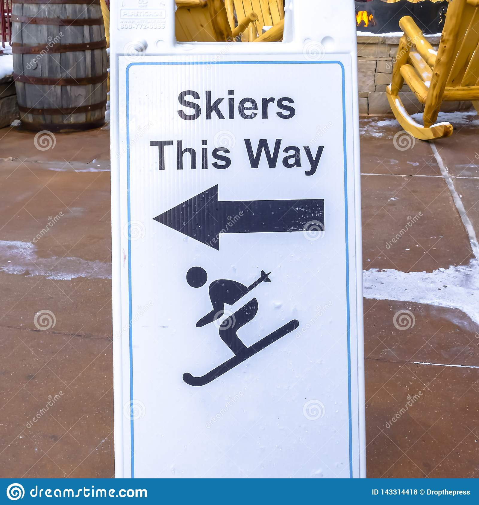 Enjoyable Skiers This Way Sign At A Ski Resort Stock Photo Image Of Ibusinesslaw Wood Chair Design Ideas Ibusinesslaworg