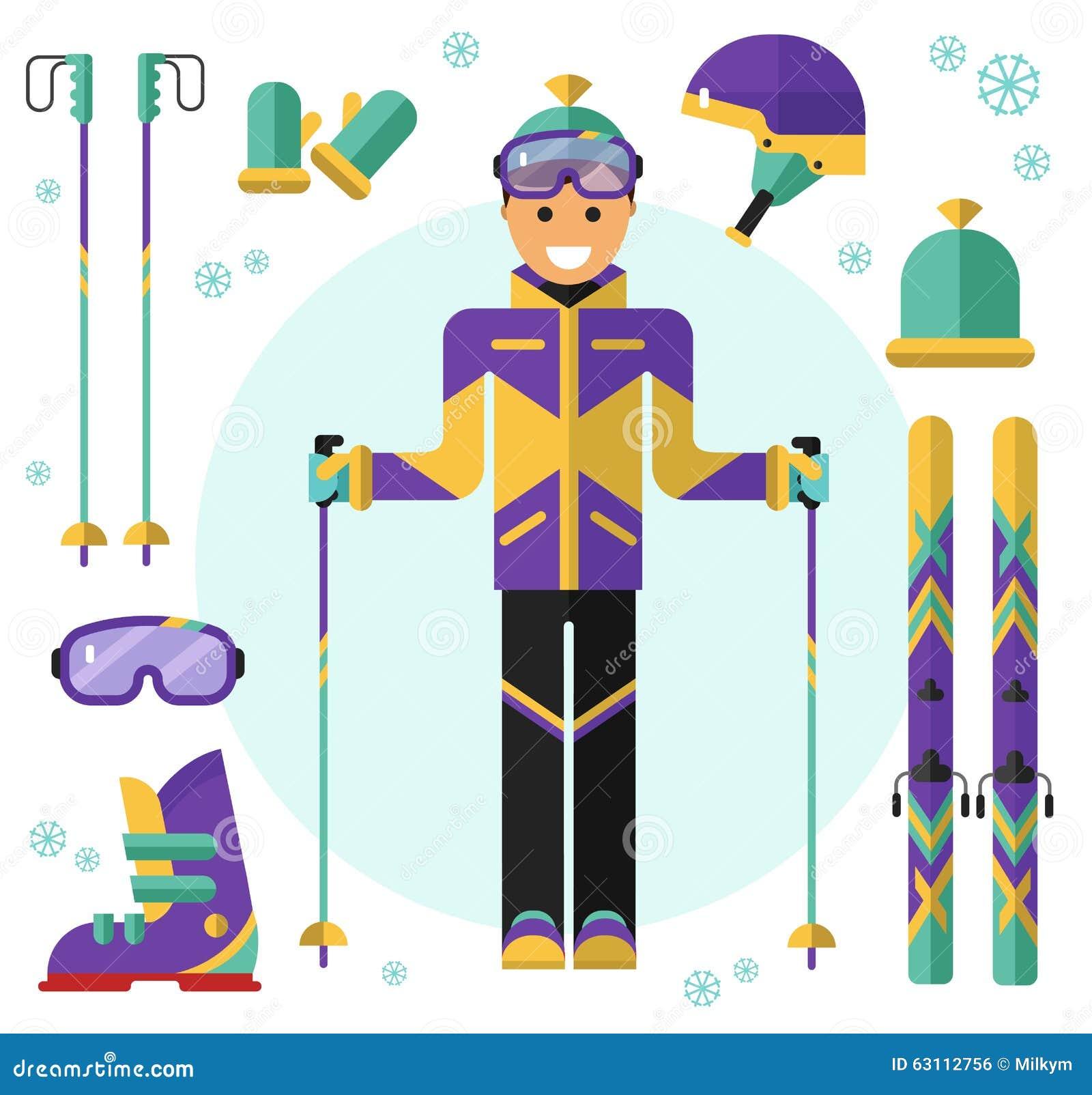 Skifahrer mit Ausrüstung vektor abbildung. Illustration von graphik ...