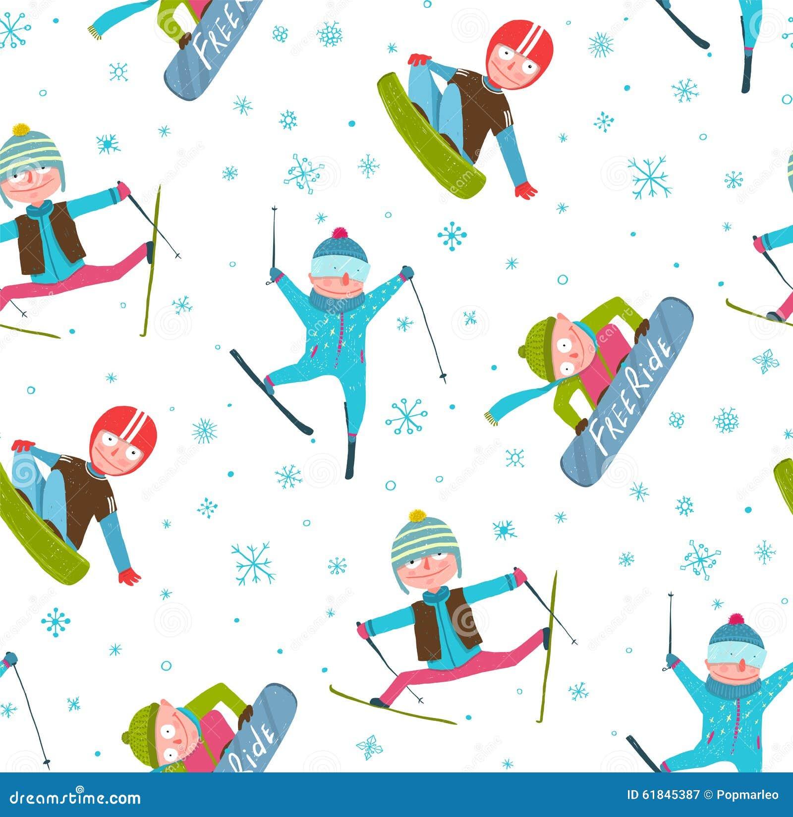 Free Worksheets xl worksheet : Skifahrer-Snowboarder-Winter-Sport-Karikatur Nahtlos ...