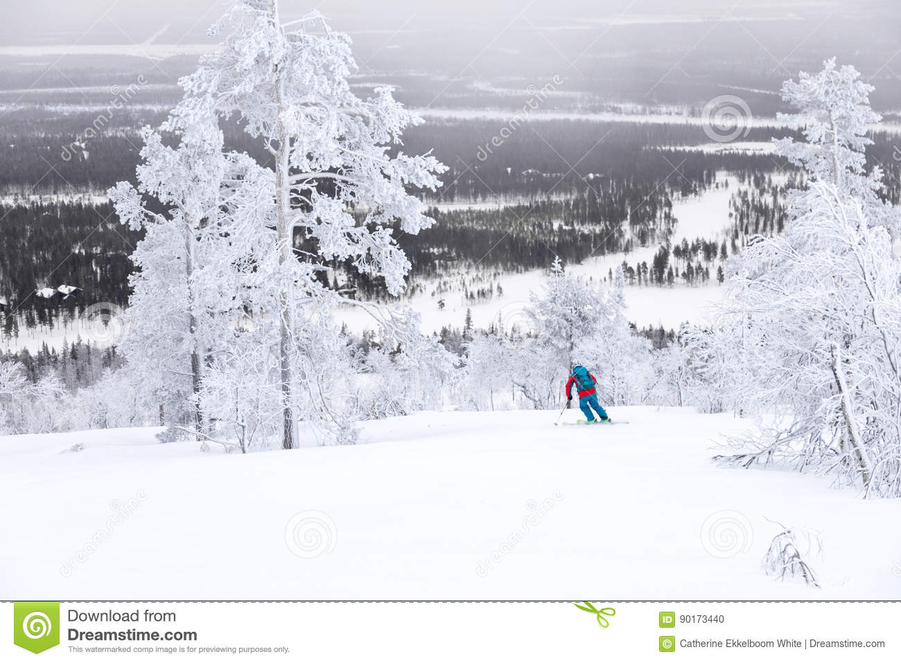 skiing above the arctic circle stock photo image of cold finland