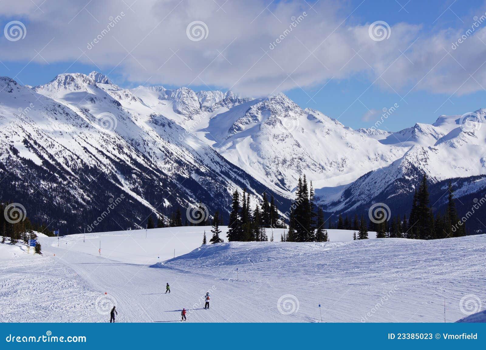 Skiing down Whistler mountain
