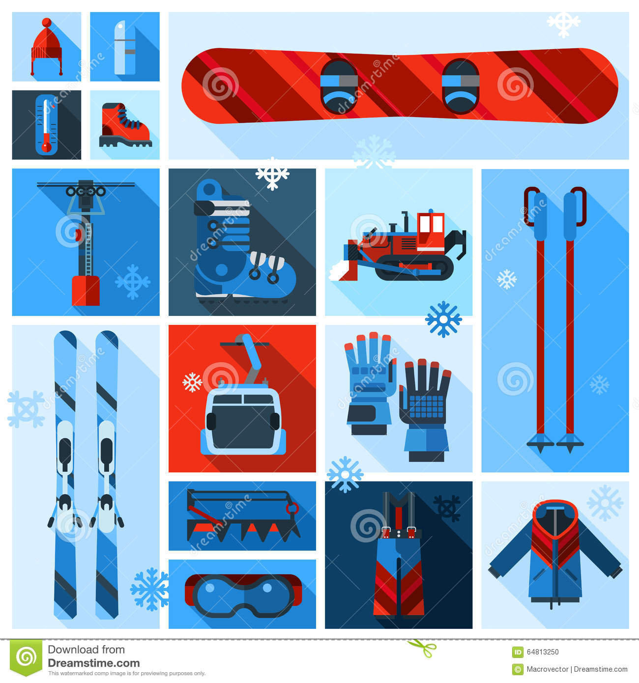 Downhill Skiing Icons Vector Illustration Stock Photography 58499492