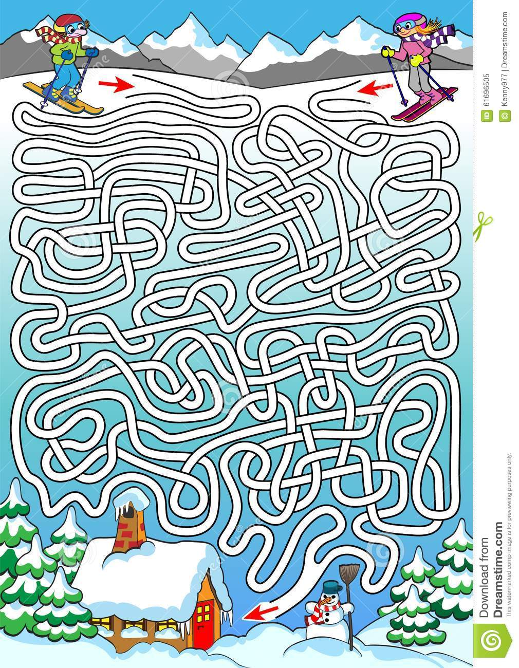 Skiing - Labyrinth For Kids (hard). Stock Vector