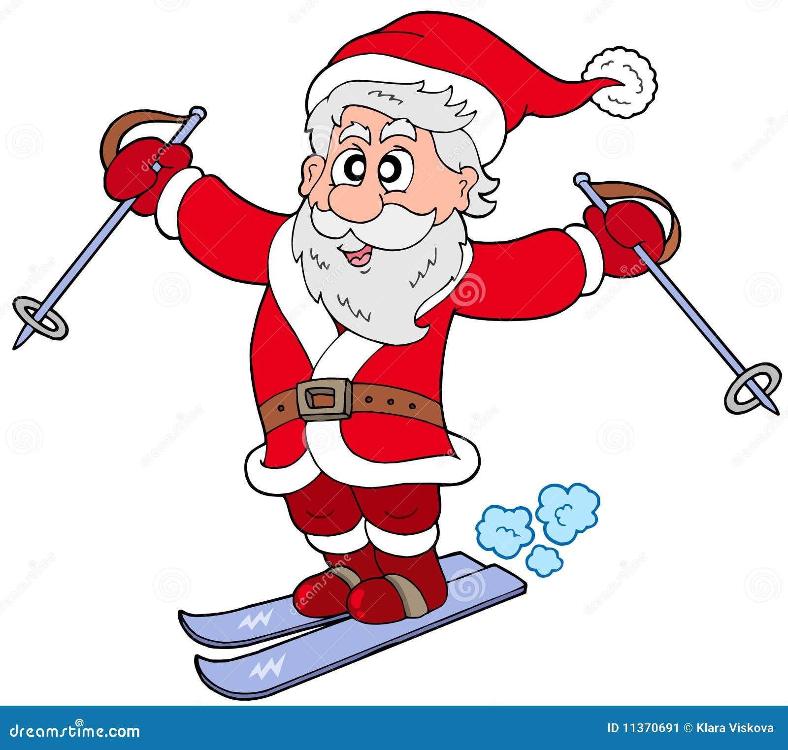 Skiing santa claus stock image image 11370691
