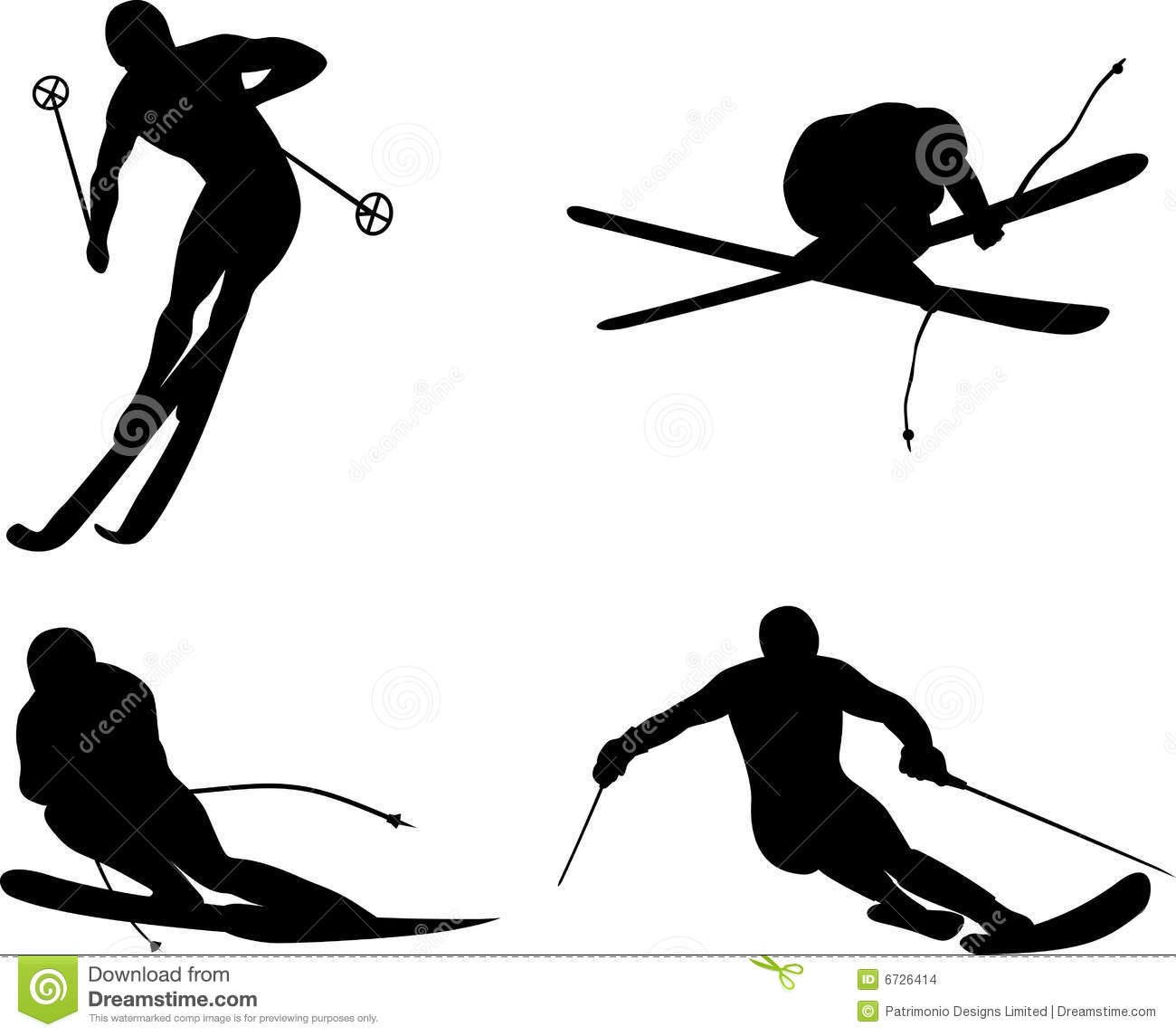 Skiing Silhouette Stock Images