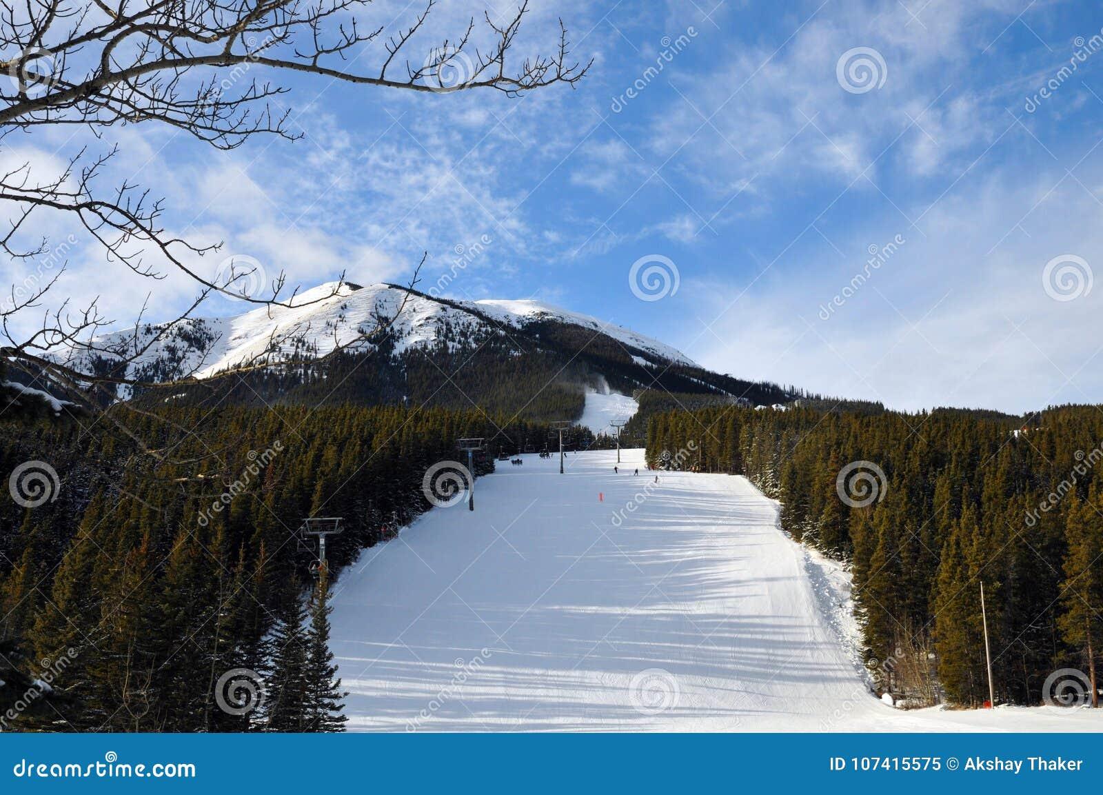 skiing slopes in kananaskis country, alberta, canada stock image