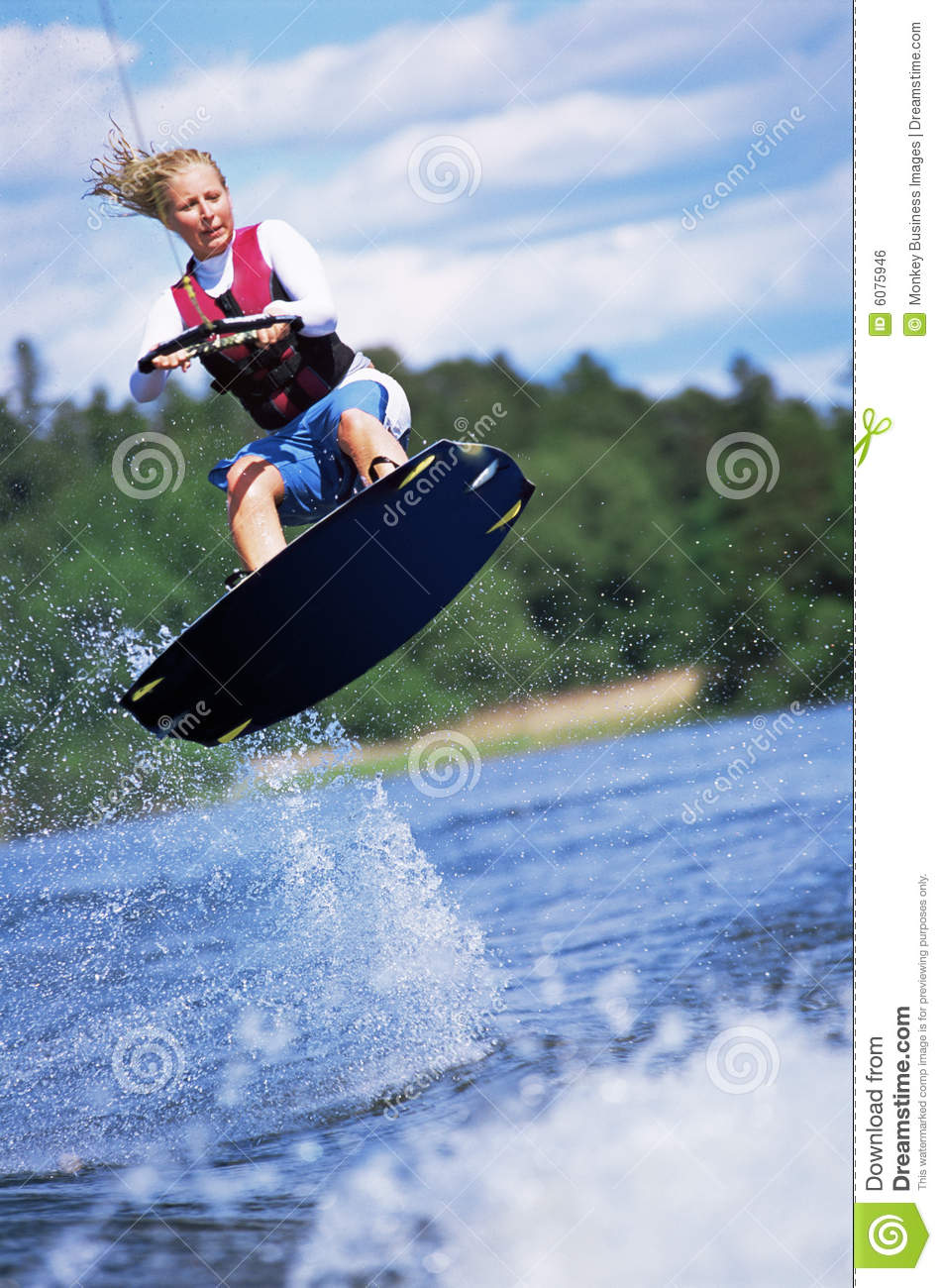 Skiing water woman young