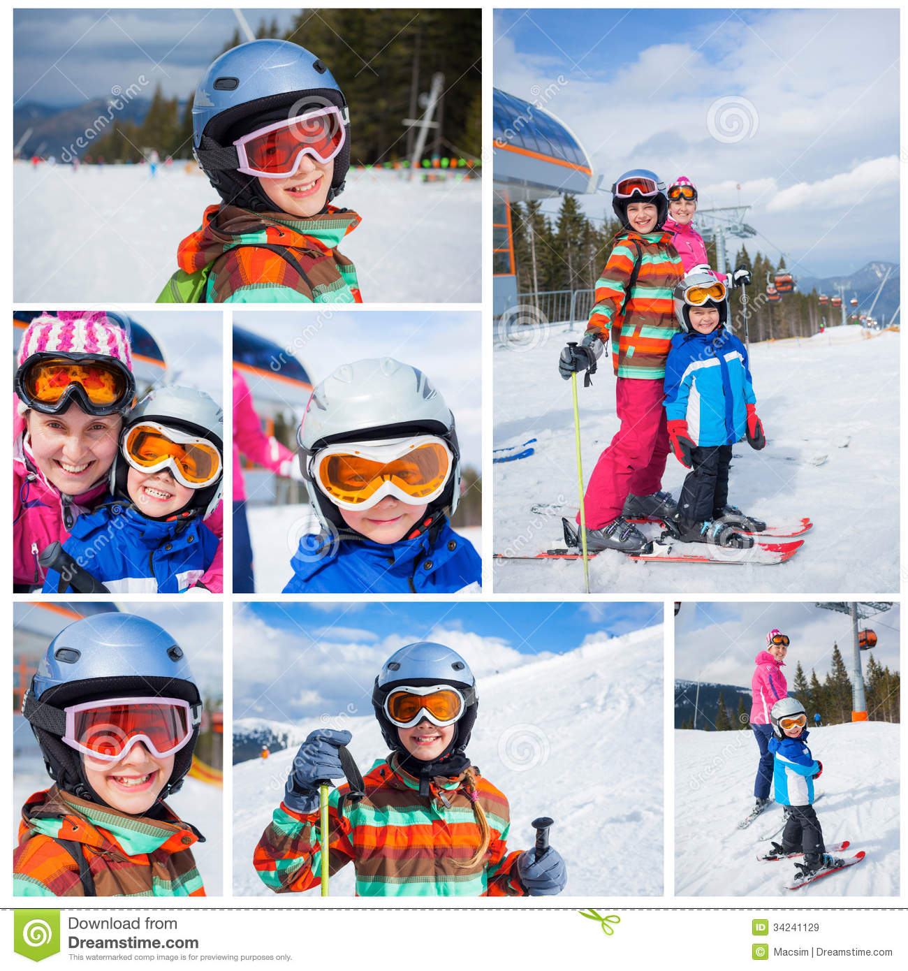 9483c61692 Collage of images two happy smiling kids in ski goggles and a helmet with  his mother in the mountains