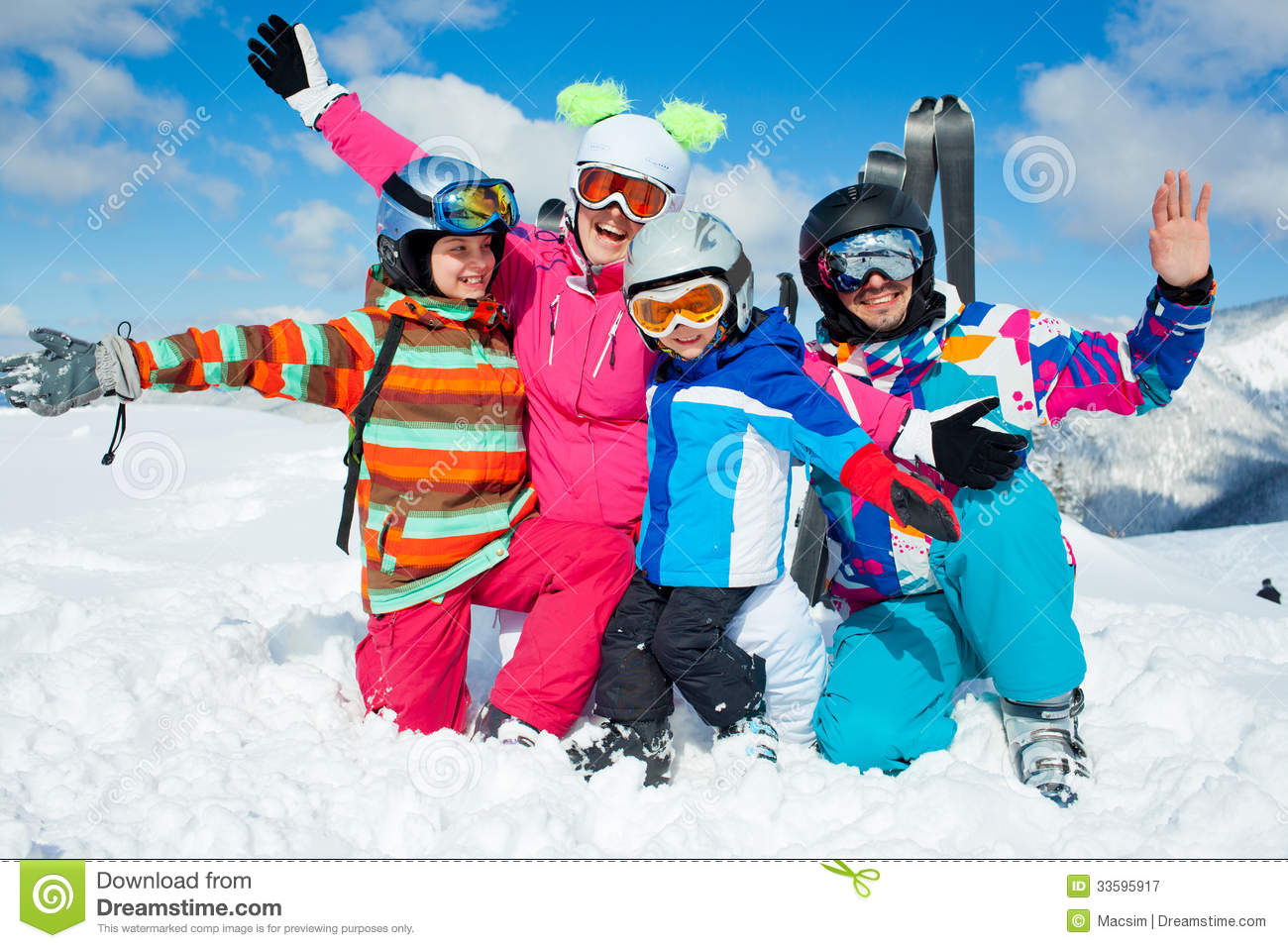 Skiing winter fun happy family stock image image of for Best family winter vacations