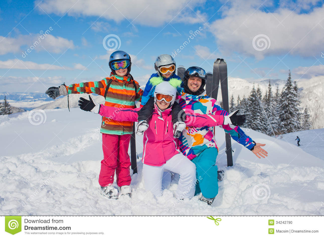 Skiing winter fun happy family stock photo image 34242790 for Best family winter vacations