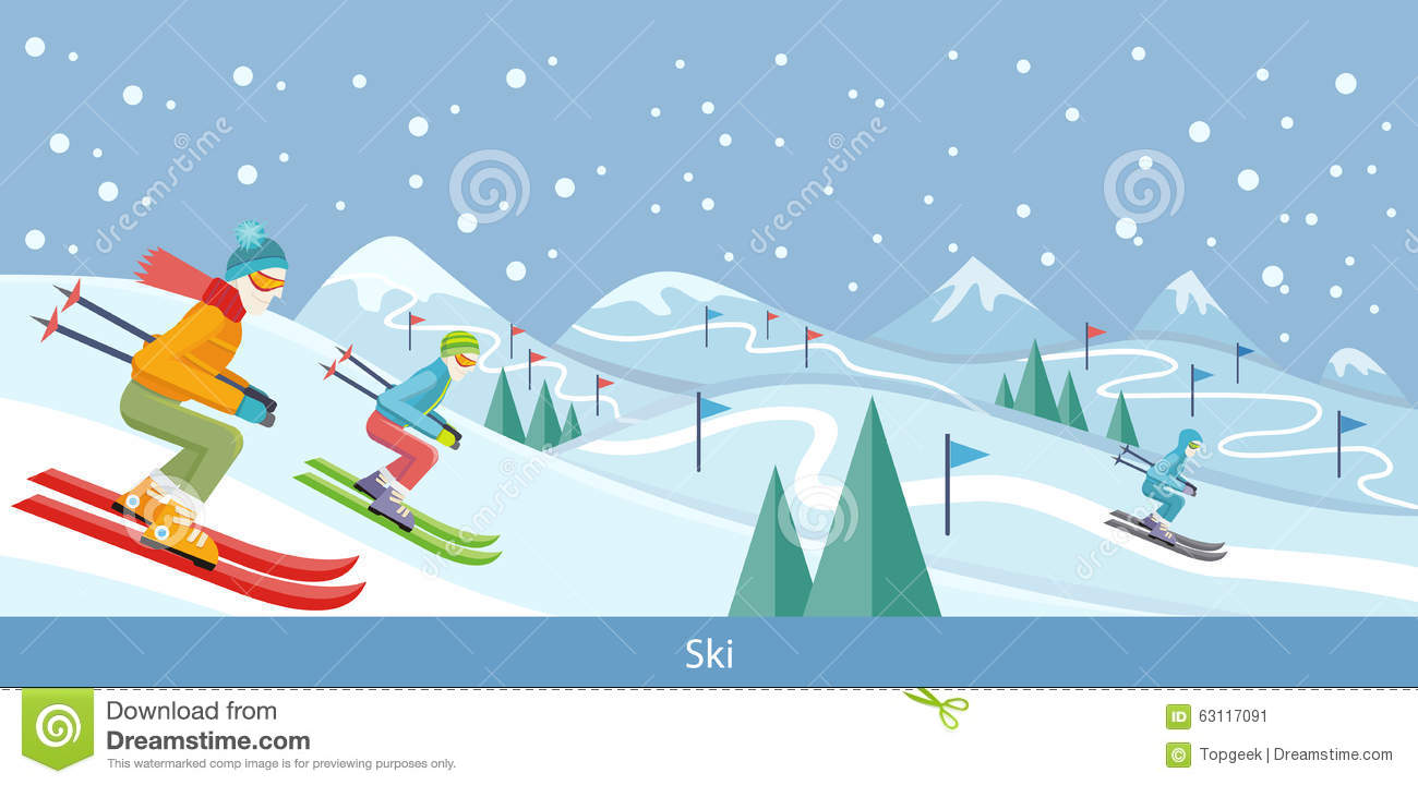 Skiing winter landscape design stock vector image 63117091 for Ski designhotel