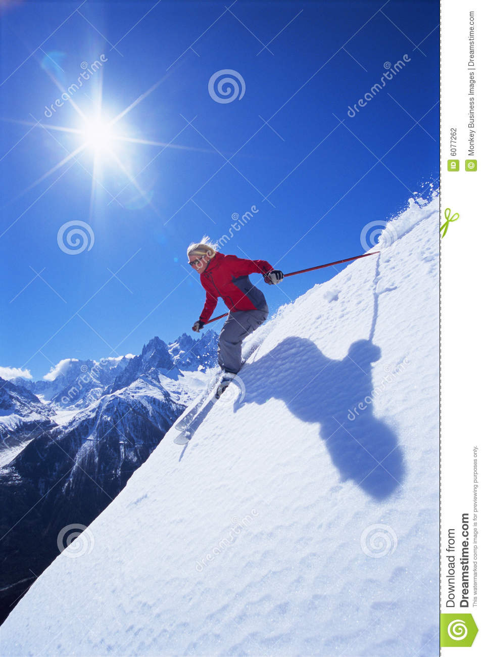 Skiing woman young