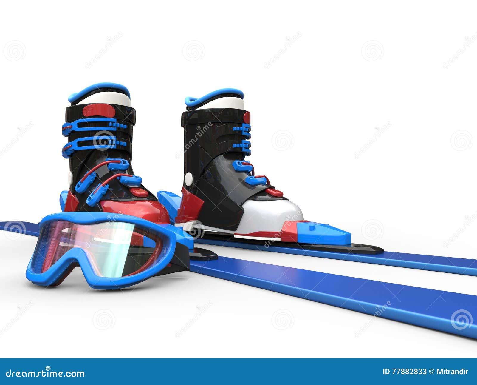 Skiis Azules Con Las Gafas Bordeadas Azul Del Esquí Stock de ilustración