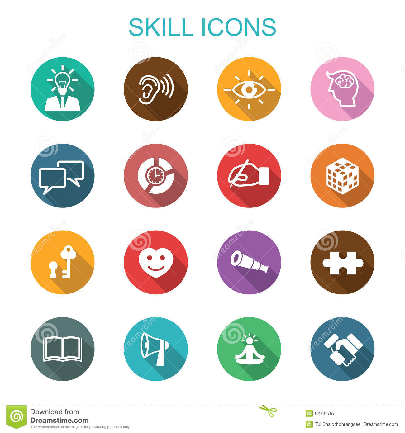 skill long shadow icons stock vector  illustration of