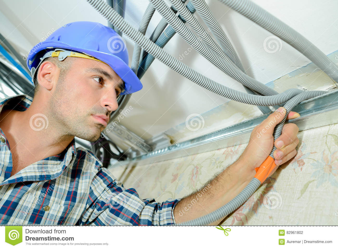 Skilled Electrician Wiring House Stock Photo Image Of Improve