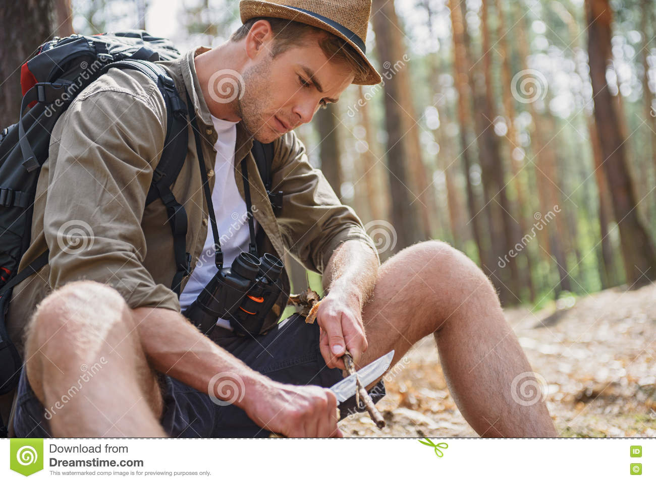 174ba62588e Skillful Man Whittling Pole In Forest Stock Image - Image of outside ...