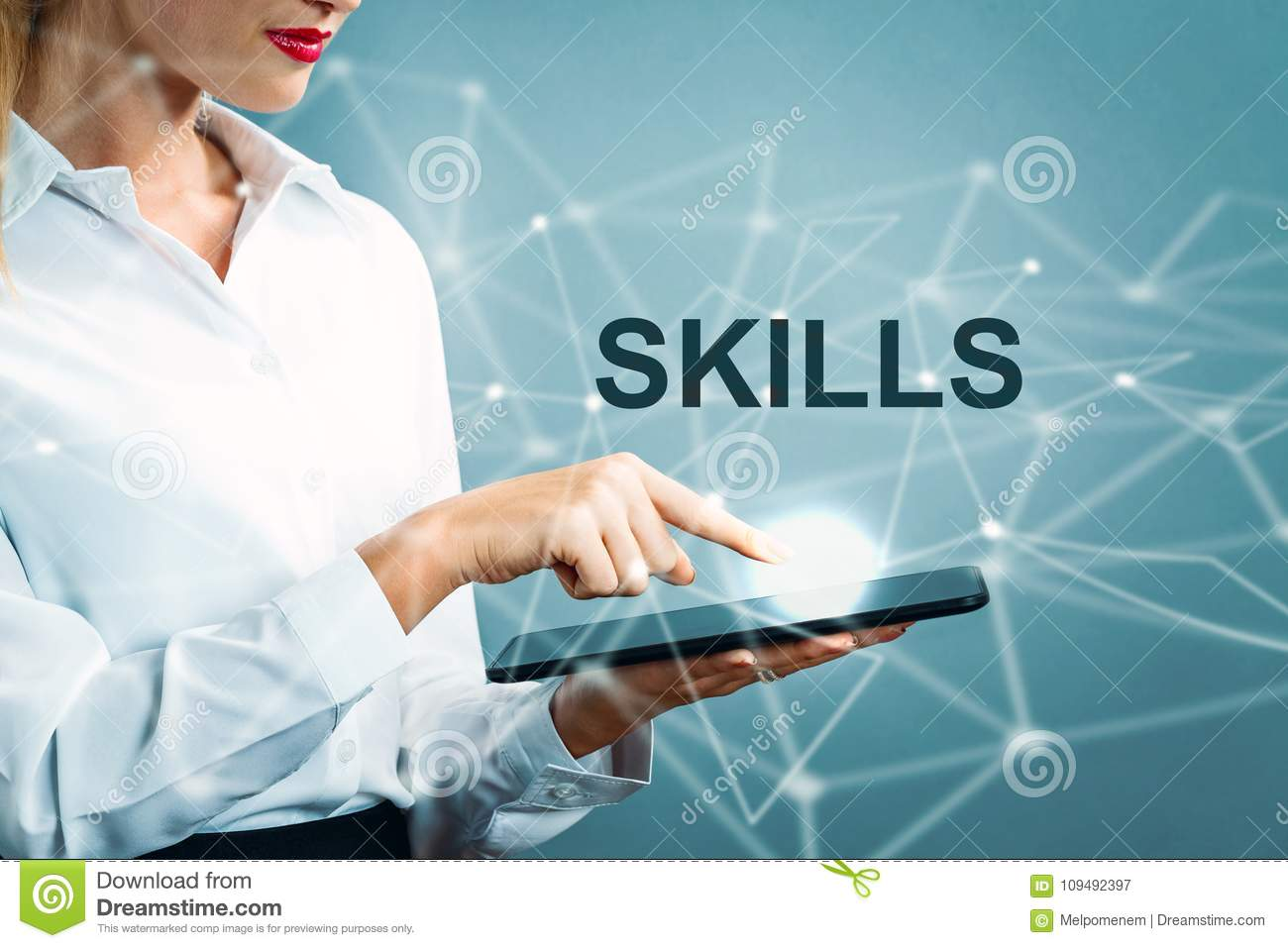 Skills text with business woman