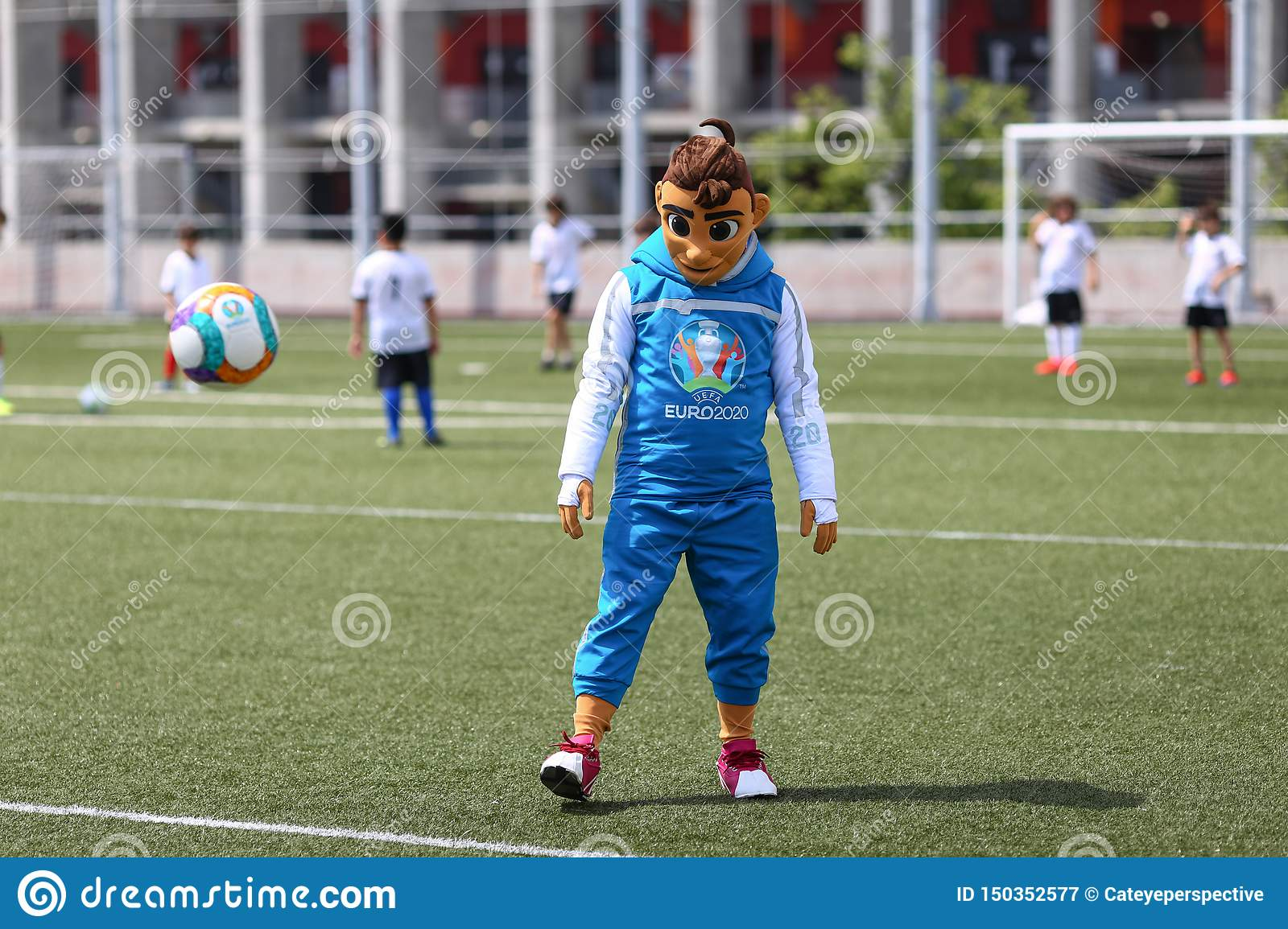 Skillzy, the official mascot for the Euro 2020 football tournament, is seen during a presentation at the National Arena Stadium