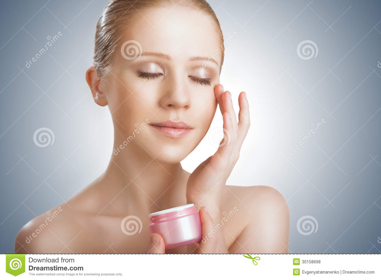 Download Skin Care.  Beauty  Girl With Eyes Closed With Jar Of Cream Stock Photo - Image of care, body: 30158698