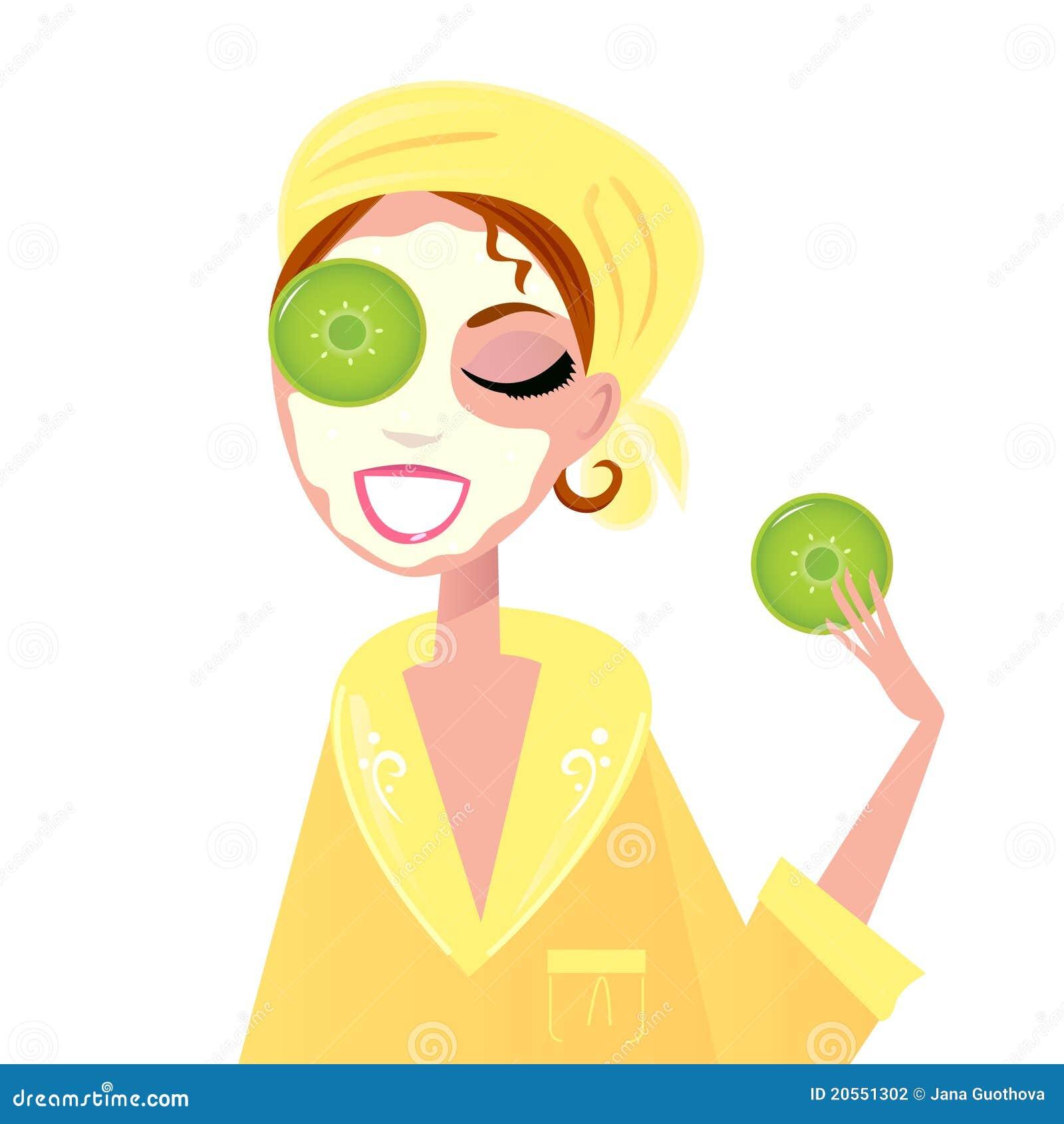 skin care girl having spa facial mask stock vector Pretty Eyes Clip Art Cute Eyes Clip Art