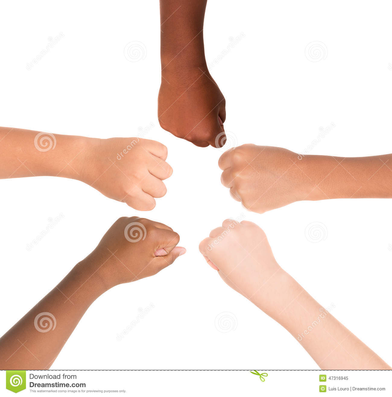 Children's hands from different colors and races together isolated in ...